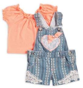 Little Lass Baby Girl's Two-Piece Top and Denim Shortall Set