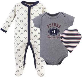 Hudson Baby Cream & Gray Football Footie Set - Infant