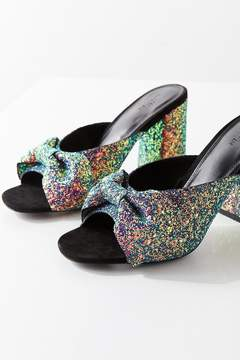 Urban Outfitters Rita Glitter Bow Mule Heel