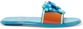 Prada Floral-appliquéd Rubber Slides - Azure