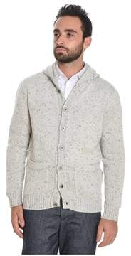 H953 Men's White Wool Cardigan.