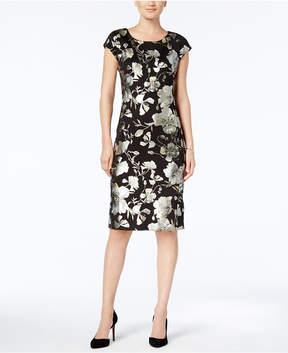ECI Metallic-Print Sheath Dress