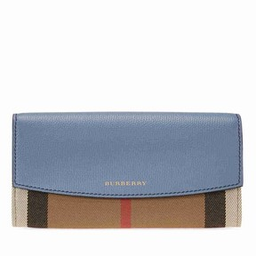 Burberry House Check Sartorial Leather Wallet- Slate Blue - ONE COLOR - STYLE