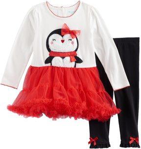Nannette Toddler Girl Penguin Dress & Leggings Set