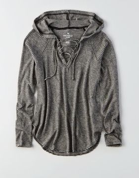American Eagle Outfitters AE Soft & Sexy Plush Lace-Up Hoodie