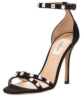 Valentino Rockstud Glam Satin City Sandals, Black