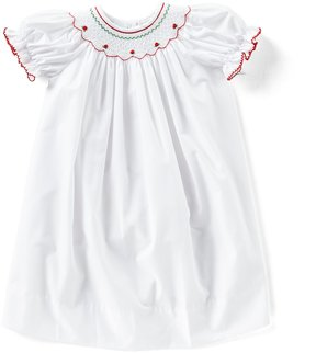 Edgehill Collection Little Girls 2T-4T Christmas Floral Smocked Dress