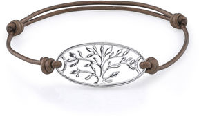 Footnotes Too Pure Silver Plated Family Leather Bracelet