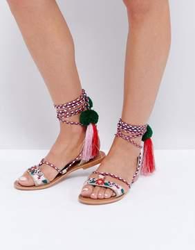 Glamorous Multi Pom and Tassel Tie Up Flat Sandals