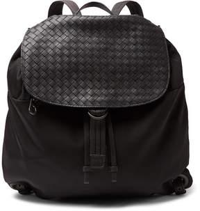 Bottega Veneta Intrecciato Leather-Panelled Canvas Backpack