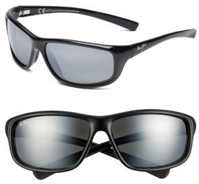 Maui Jim Men's 'Spartan Reef - Polarizedplus2' 64Mm Sunglasses - Gloss Black/ Neutral Grey