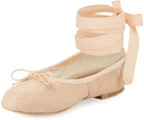 Neiman Marcus Ballet Beautiful Street Ballerina Ankle-Wrap Flat, Pink