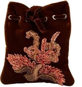 Alberta Ferretti Brown Velvet Clutch Bag