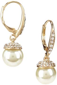 Cezanne Pav -Capped Faux-Pearl Drop Earrings