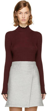 Carven Burgundy Ribbed Turtleneck