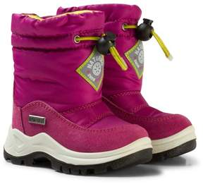Naturino Pink and White Varna Waterproof Suede and Nylon Boots