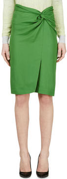 Cédric Charlier Green Wrap Pencil Skirt