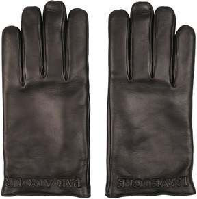 Gucci Embossed Logo Leather Gloves