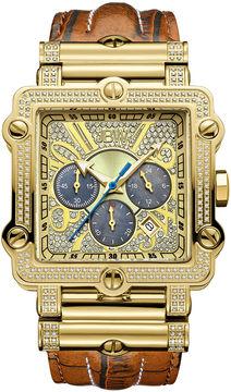 JBW Phantom Mens 2? CT. T.W Diamond Square Brown Leather Strap Watch JB-6215-238-A
