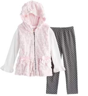 Little Lass Girls 4-6X 3-pc. Faux Fur Vest Set