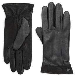 Saks Fifth Avenue Leather Texture Trim Gloves