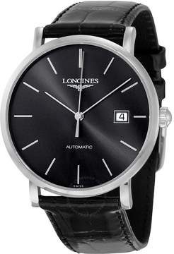 Longines Elegant Black Dial Alligator Leather Automatic Men's Watch