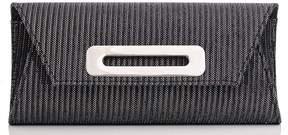 *Quiz Grey Striped Shimmer Clutch Bag