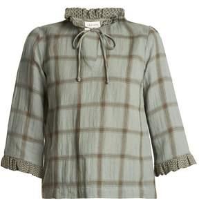 DAY Birger et Mikkelsen CECILIE COPENHAGEN Tie-neck cotton and linen-blend checked top