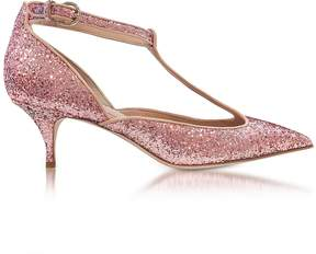 RED Valentino Cammeo Glitter and Nude Leather Kitten Heel Pumps