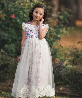Aletta Ivory Frockling Fields Floral Gown - Toddler & Girls