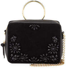 Neiman Marcus Harper Beaded Suede & Leather Ring-Handle Crossbody Bag