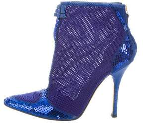 Roberto Cavalli Mesh Sequined Booties