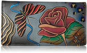 Anuschka Anna by Women's Leather Hand Painted Clutch Wallet | Rose Safari Grey