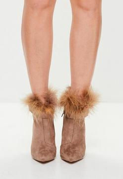 Missguided Tan Feather Pointed Ankle Boots