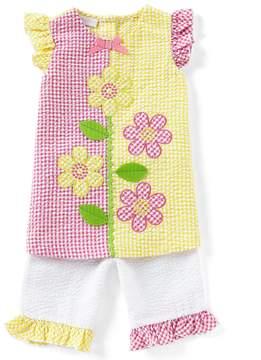 Bonnie Jean Bonnie Baby Baby Girls 12-24 Months Flower-Appliqued Checked A-Line Dress & Capri Pant Set