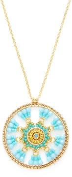 Miguel Ases Women's Beaded Disc Pendant Necklace