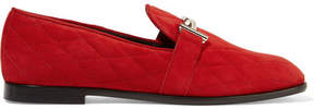 Tod's Quilted Suede Loafers - Claret