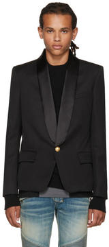 Balmain Black Single-Button Shawl Blazer
