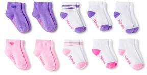Hanes Toddler Girls' 10pk Athletic Ankle Socks - Multicolored