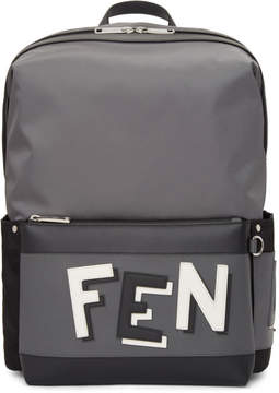 Fendi Grey and Black Nylon Backpack
