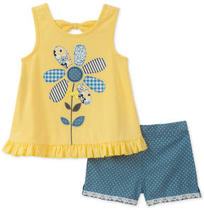 Kids Headquarters 2-Pc. Flower Tunic & Shorts Set, Baby Girls