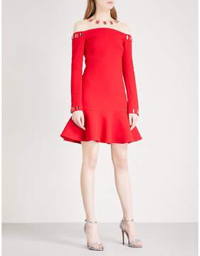 David Koma Mesh-yoke embellished wool-blend mini dress