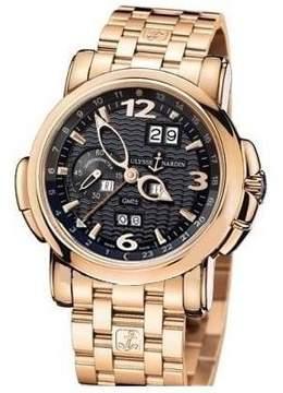 Ulysse Nardin GMT Perpetual Black Dial 18kt Rose Gold Men's Watch 326-60-8-62