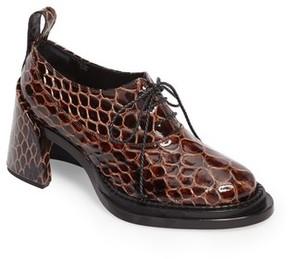 Simone Rocha Women's Shell Heel Snake Embossed Leather Oxford