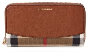 Burberry Elmore House Check & Leather Zip Around Wallet. - TAN - STYLE