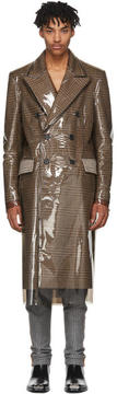 Calvin Klein Brown Plastic-Covered Wall Street Coat