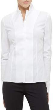 Akris Long-Sleeve Notched-Collar Poplin Blouse