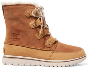 Sorel Cozy Joan Faux Fur-lined Suede And Nubuck Ankle Boots - Tan