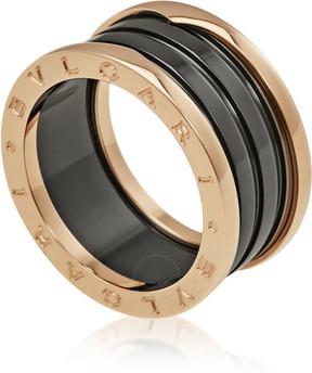 Bvlgari B.Zero1 4 Band 18K Pink Gold Black Ceramic Ring - Size 9.75
