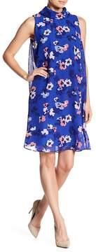 Eliza J Sleeveless Rolled Collar Floral Dress